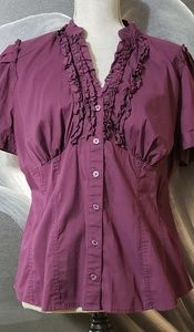 Plum ruffle blouse